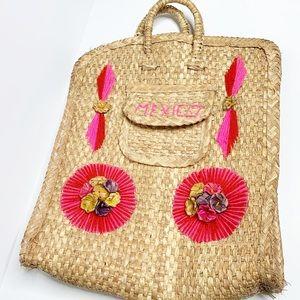 Mexican Long Straw Tote Yarn Knit Souvenir Bag